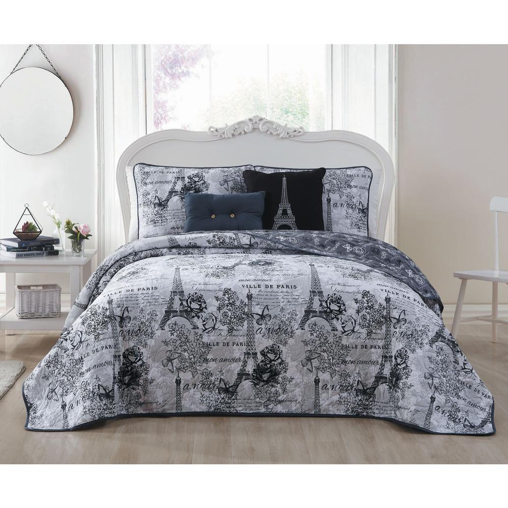 Amour Black/White Twin Quilt Set