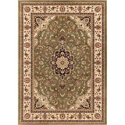 Barclay Medallion Kashan Green 3 ft. 11 in. x 5 ft. 3 in. Traditional Area Rug