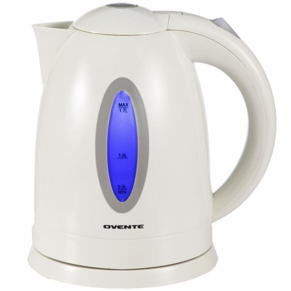 Ovente 6.5-Cup BPA-Free Plastic Cordless White Electric Kettle KP72W