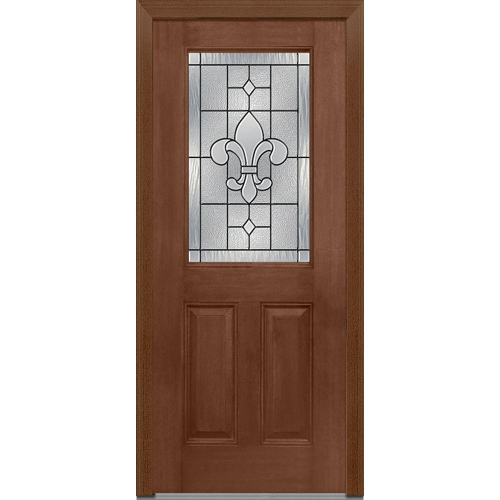 Mmi door 33 5 in x in carrollton decorative glass 1 2 lite mahogany finished fiberglass for Exterior glass doors home depot