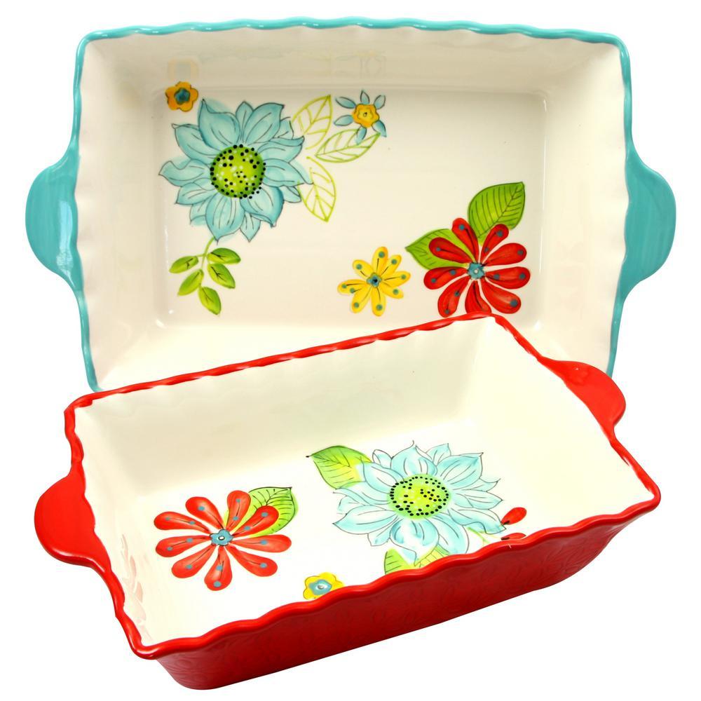 Daisie Collection 2-Piece Rectangular Stoneware Bakeware Set