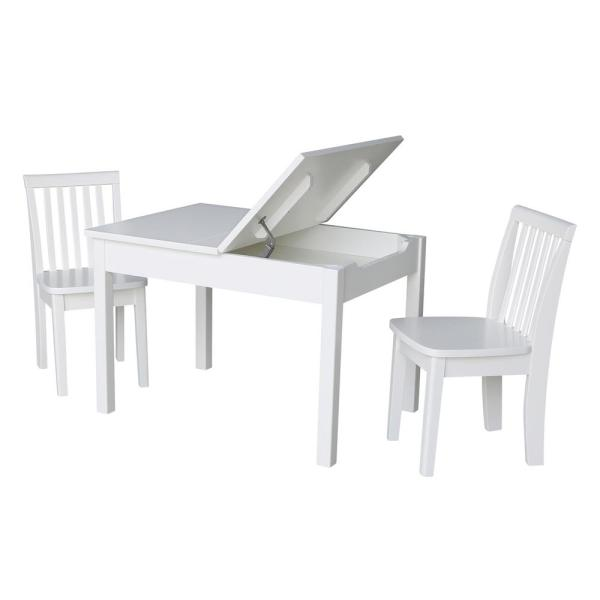 International Concepts 3-Piece White Child's Lift-Top Storage Table Set