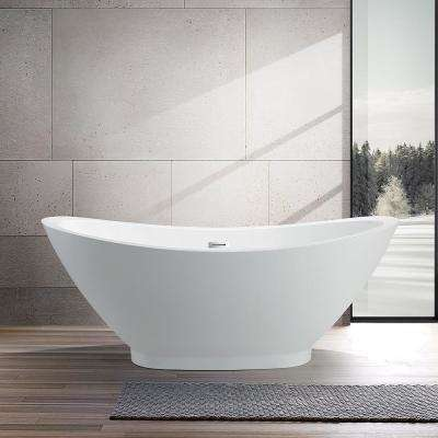 Besancon 69 in. Acrylic Flatbottom Freestanding Bathtub in White