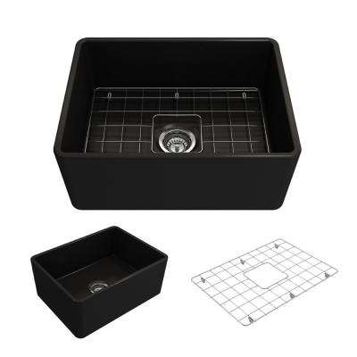 Classico Farmhouse Apron Front Fireclay 24 in. Single Bowl Kitchen Sink with Bottom Grid and Strainer in Matte Black