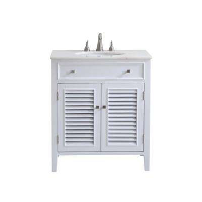 Bellaire 30 in. Single Bathroom Vanity with 1-Shelf 2-Doors Marble Top Porcelain Sink in White Finish