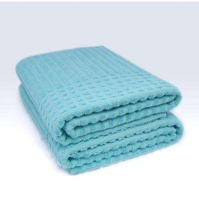 Piano Collection 27 in. W x 55 in. H 100% Turkish Cotton Luxury Bath Towel in Aqua (Set of 2)