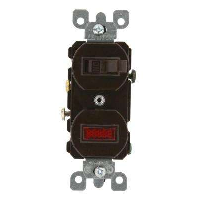 15 Amp Commercial Grade Combination Single Pole Toggle Switch and Neon Pilot Light, Brown