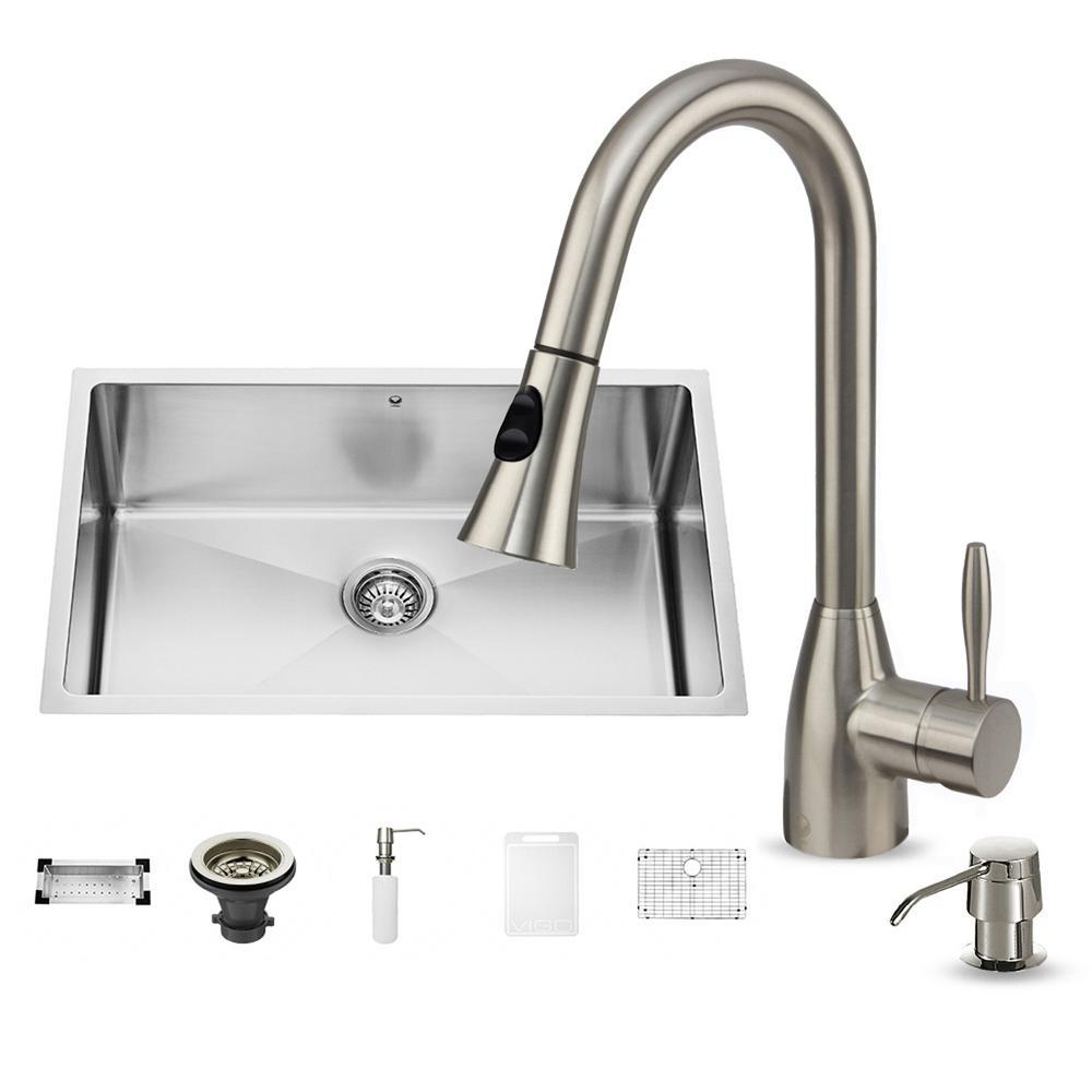 VIGO All-in-One Undermount Stainless Steel 30 in. Single Bowl Kitchen Sink in Stainless Steel