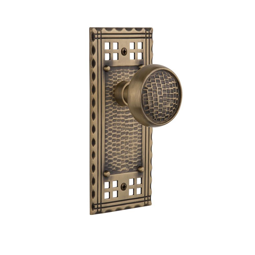 Craftsman Plate Double Dummy Craftsman Door Knob in Antique Brass