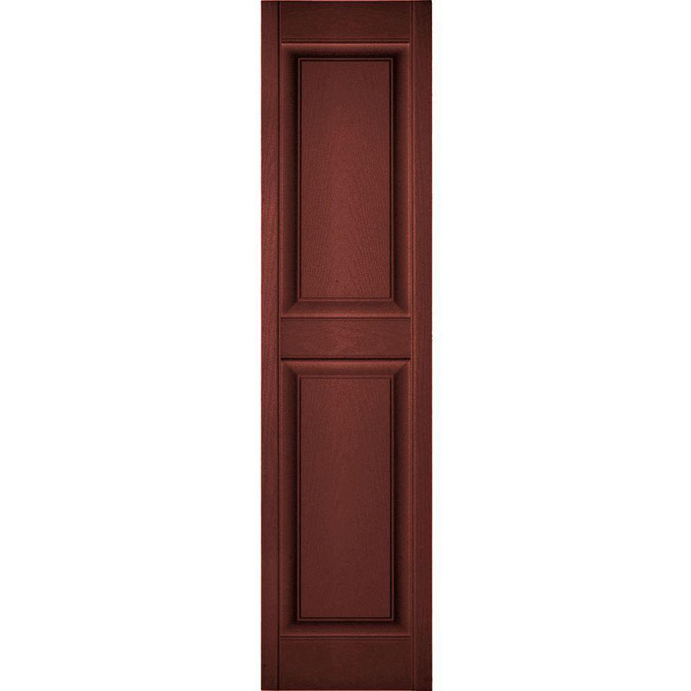 Ekena Millwork 18 in. x 43 in. Lifetime Vinyl Custom 2 Equal Raised Panel Shutters Pair Burgundy Red