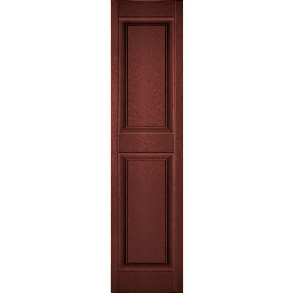Ekena Millwork 14 3 4 In X 55 In Lifetime Vinyl Standard 2 Equal Raised Panel Shutters Pair Burgundy Red Lp2s14x05500rd The Home Depot
