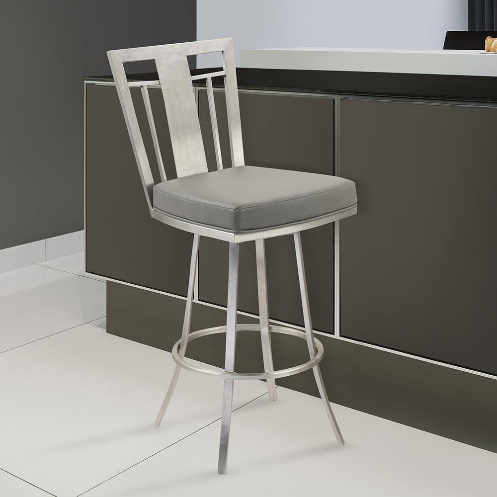 Armen Living Cleo 30 In. Gray Faux Leather And Brushed Stainless Steel  Finish Swivel Barstool