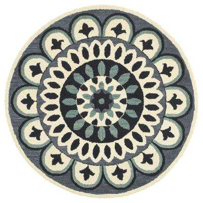 Dazzle Navy 4 ft. x 4 ft. Indoor Round Area Rug