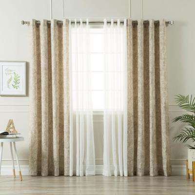 Taupe 84 in. L uMIXm Sheer Faux Linen and Paisley Curtain (4-Pack)