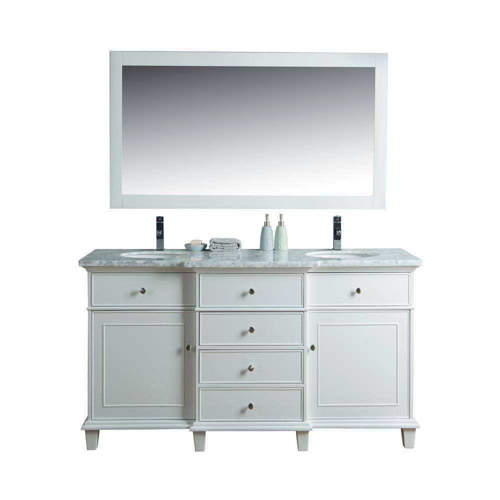 stufurhome Cadence 60 in. W x 22 in. D Vanity in White with Marble Vanity Top in Carrara White and Mirror