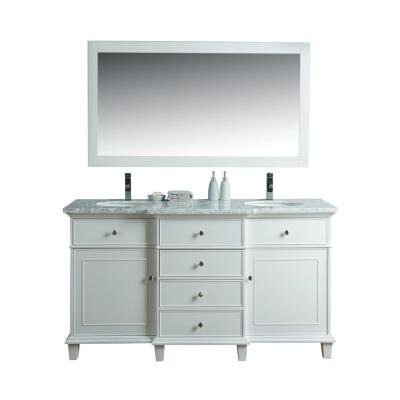 Cadence 60 in. W x 22 in. D Vanity in White with Marble Vanity Top in Carrara White and Mirror