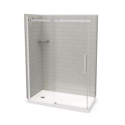 32 in. x 60 in. x 83.5 in. Corner Shower Kit in Metro Soft Grey with Left Hand Drain and Chrome Door