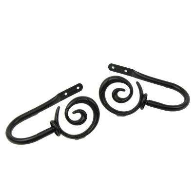 Spiral Decorative Holdback Pair in Black