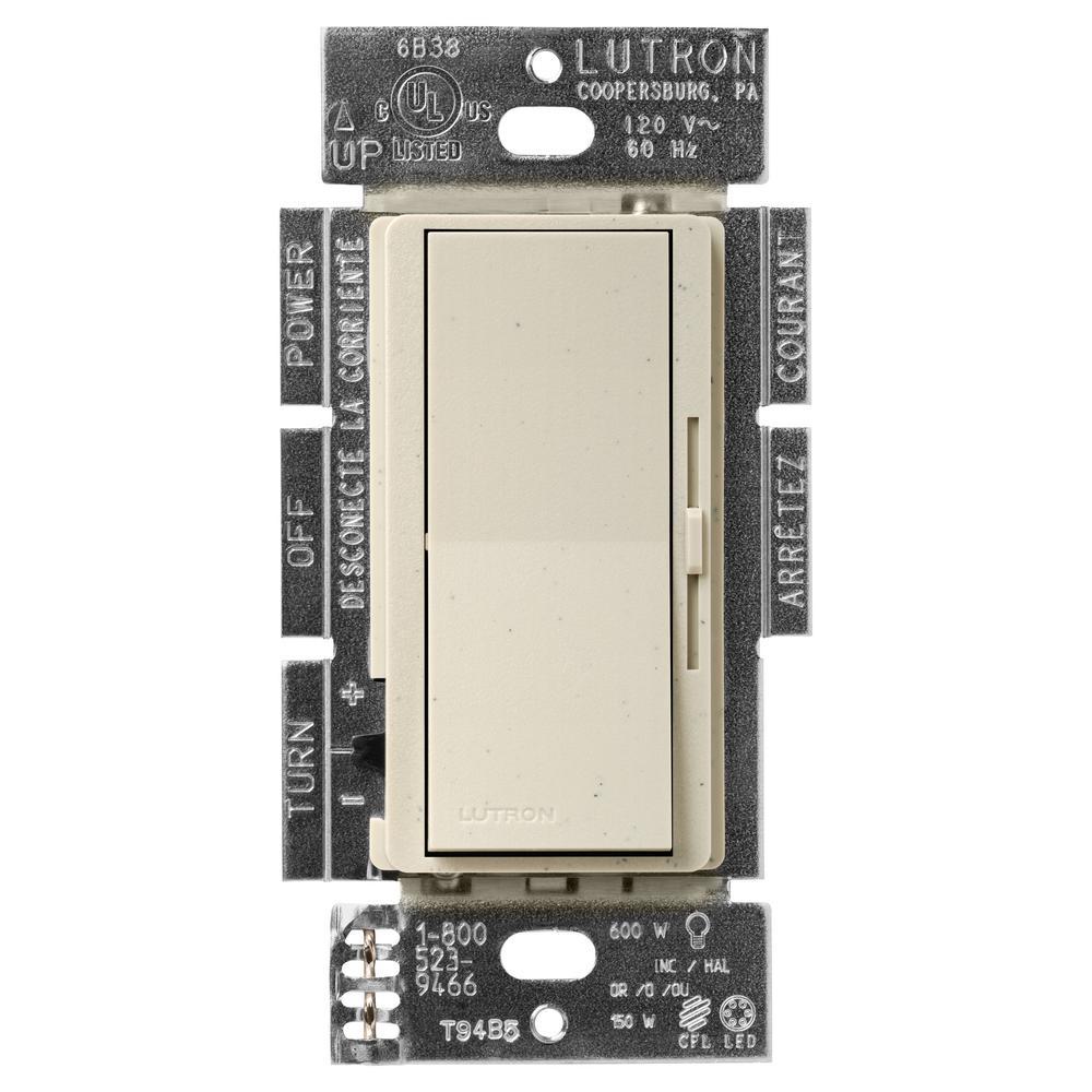 Lutron Diva DVSCCL-153P-ST Dimmable CFL//LED Bulb Dimmer Light Switch SATIN STONE