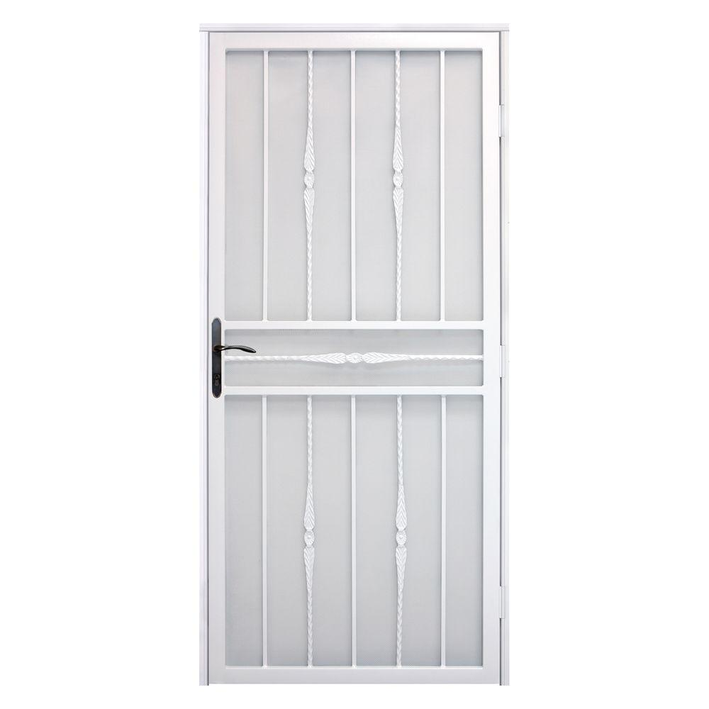 Unique Home Designs 36 in  x 80 in  Cottage Rose White Recessed Mount Steel  Security Door with Perforated Metal Screen and Bronze Hardware