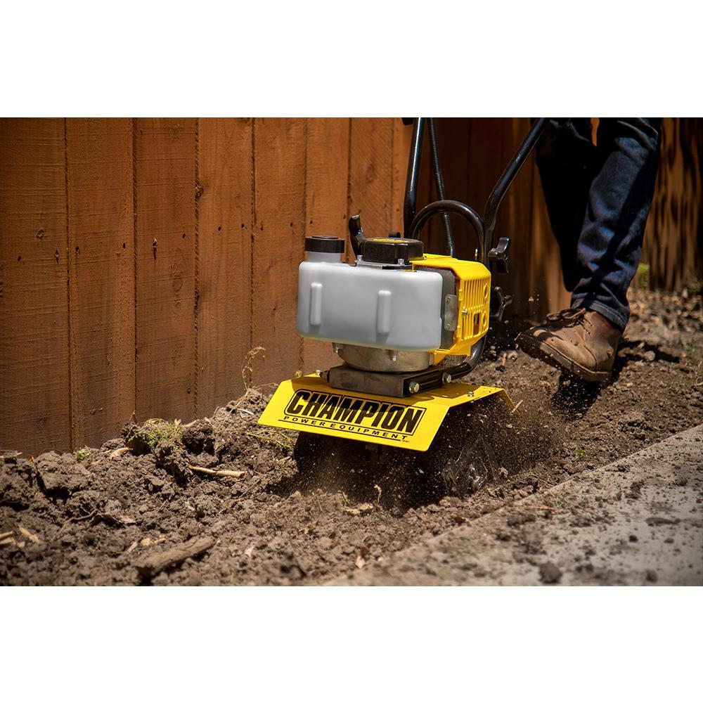 12 in. 43 cc 2-Stroke Portable Gas Garden Tiller Cultivator with Adjustable Depth