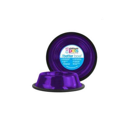 Platinum Pets 1.25 Cup Non-Tip Stainless Steel Dog/Cat Bowl, Electric Purple