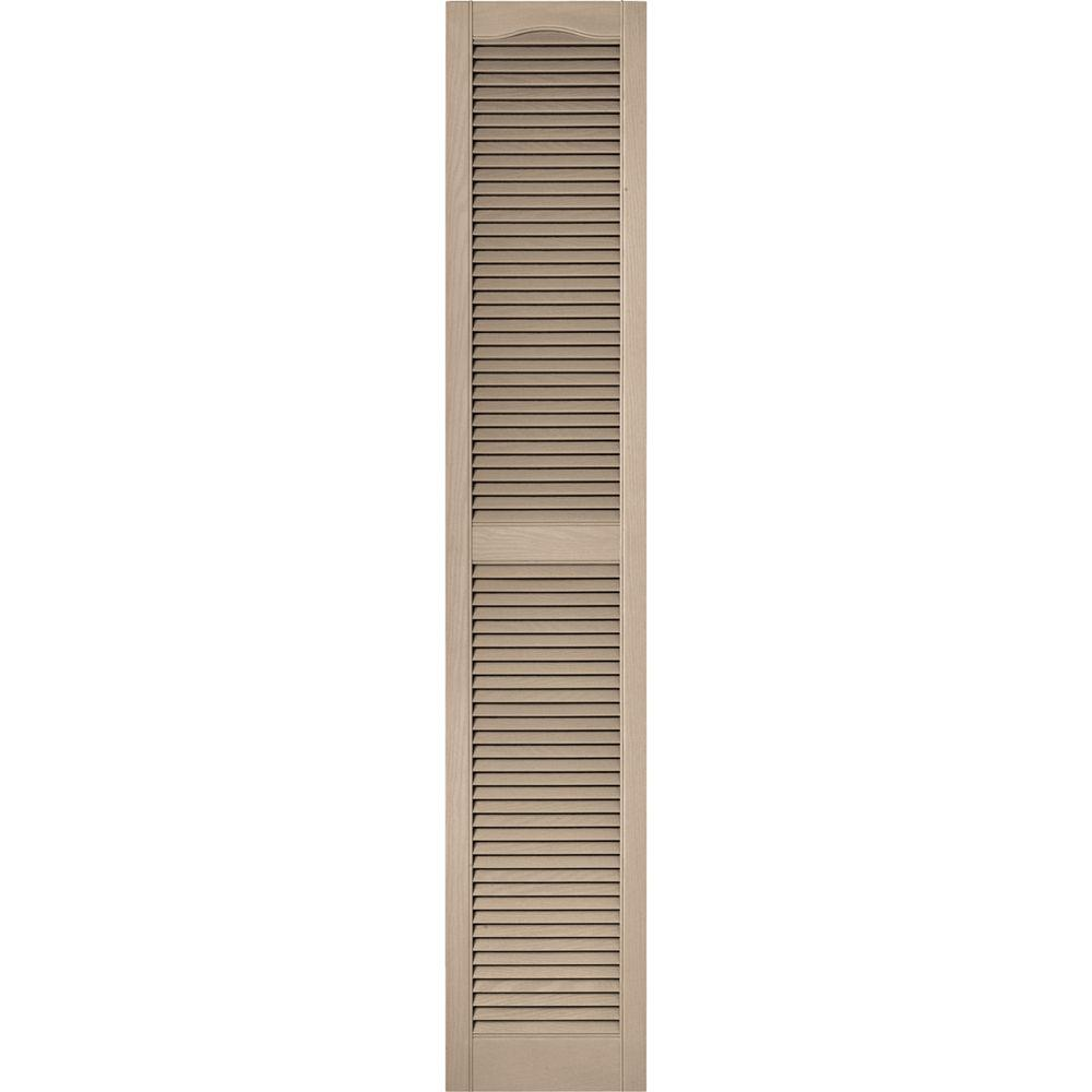 15 in. x 80 in. Louvered Vinyl Exterior Shutters Pair #023