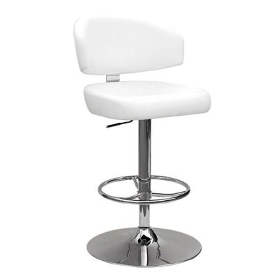 38 in. Amelia White and Chrome Metal Swivel Adjustable Stool