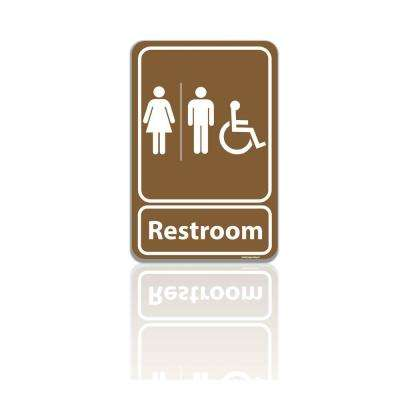 5.5 in. x 8 in. Unisex Men and Women Restroom Bathroom With ADA Complaint Wheelchair Symbol Plastic Brown Sign