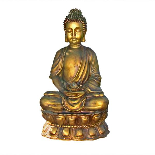 36 in. Relaxed Buddha Outdoor Water Fountain with LED Lights
