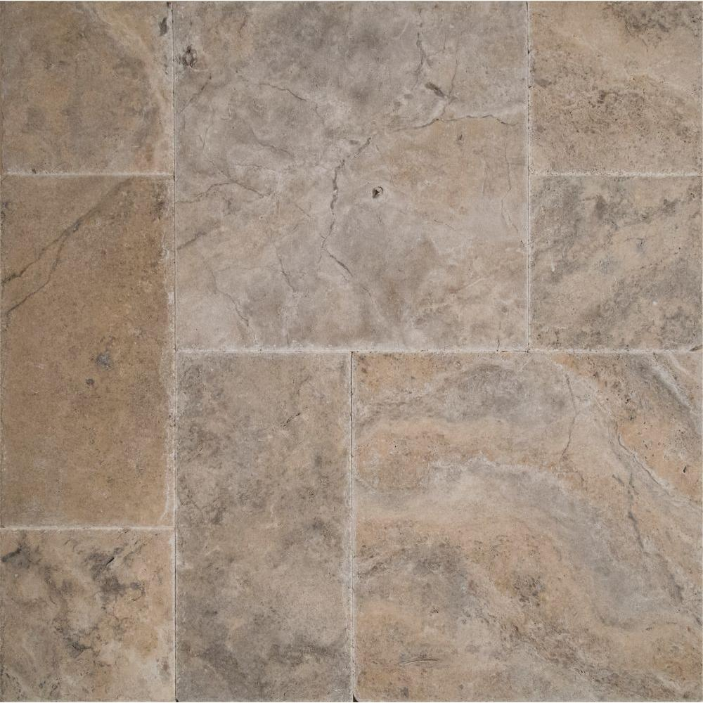 Silver Pattern Honed Unfilled Chipped Brushed Travertine Floor