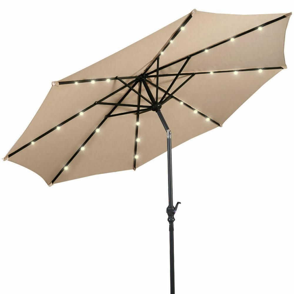 10 ft. LED Steel Market Solar Tilt Patio Umbrella in Beige with Crank Outdoor