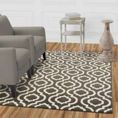 Jasmin Collection Charcoal Grey and Ivory 2 ft. 7 in. x 9 ft. 10 in. Moroccan Trellis Runner Rug
