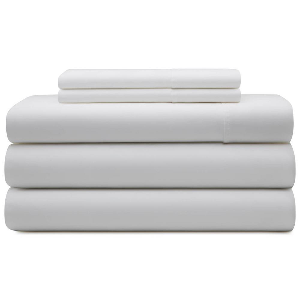 5 Piece White Cotton Blend Split Queen Sheet Set
