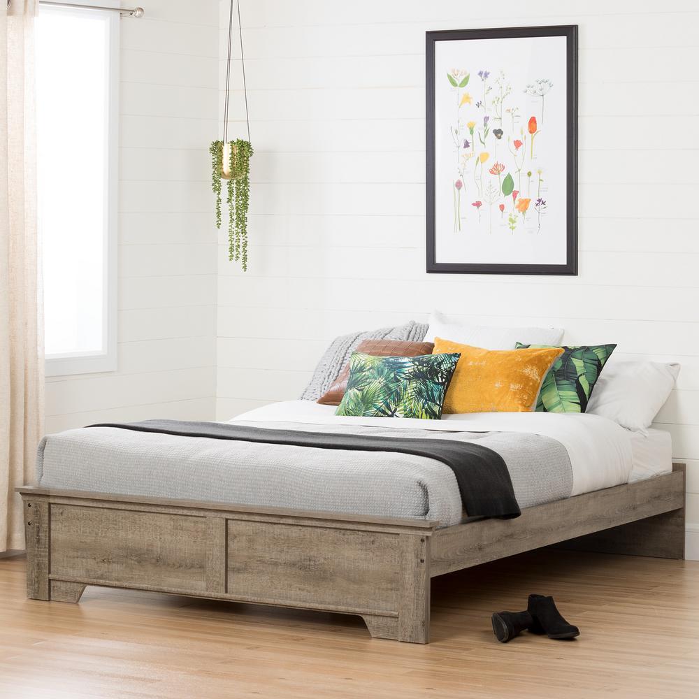 Versa Queen-Size Platform Bed in Weathered Oak