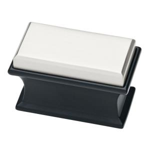 Luxe Square 1-7/8 in. (47mm) Dual Tone Matte Black and Stainless Steel Oversized Cabinet Knob