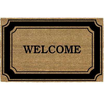 Black Border 24 in. x 36 in. Coir Welcome Door Mat