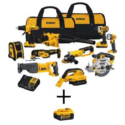 20-Volt Max Lithium-Ion Cordless Combo Kit (10-Tool) with Bonus 20-Volt 5.0 Ah Battery