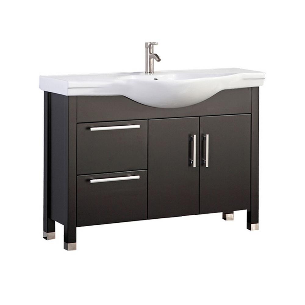 Pau 40 in. W x 19 in. D x 36 in. H Bath Vanity in Espresso with Ceramic Vanity Top in White with White Basin