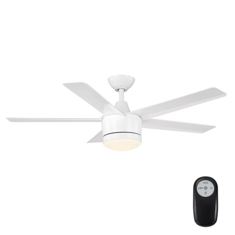 Home Decorators Collection Merwry 48 in. Integrated LED Indoor White Ceiling Fan with Light Kit and Remote Control