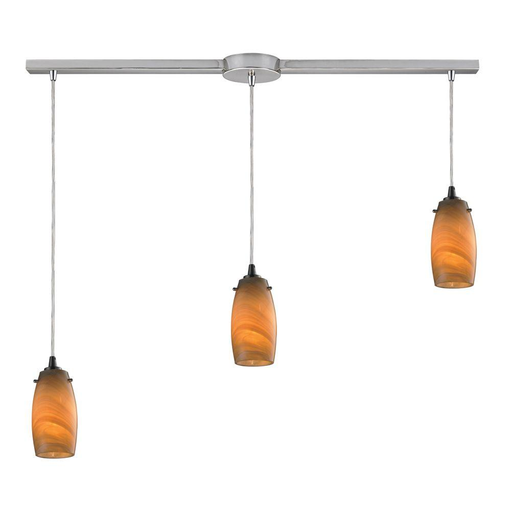 Titan Lighting Favelita 3-Light Satin Nickel Ceiling Mount Pendant