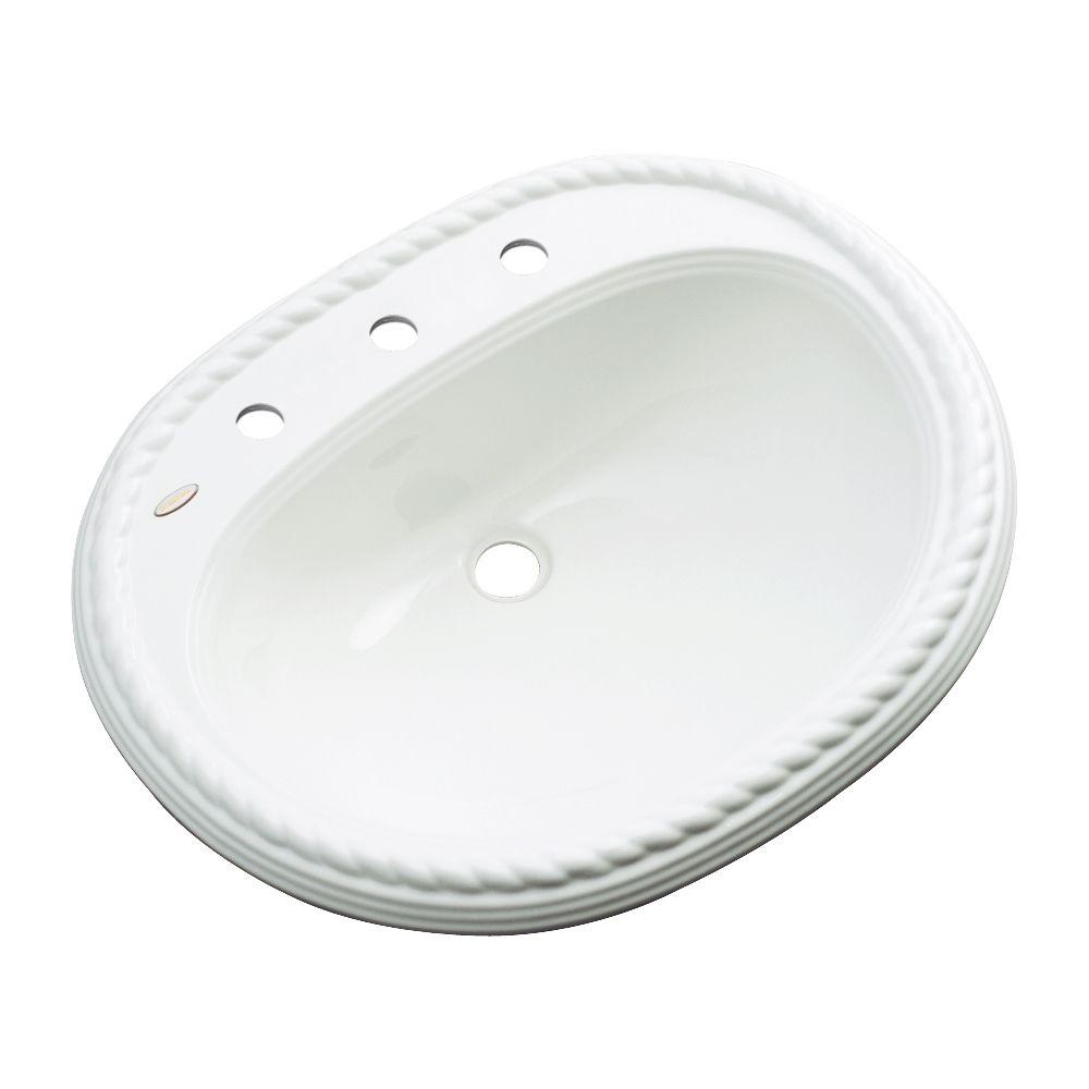 Malibu Drop-In Bathroom Sink with Faucet Hole in White