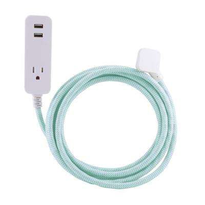 10 ft. Decor Extension Cord with 2 USB Charging Ports 2.4 Amp 1 Grounded Outlet Surge Protection, Mint/White