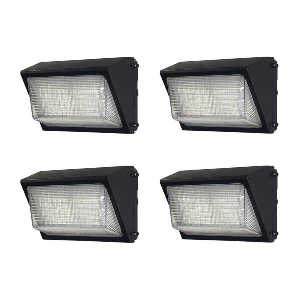 High-Output 450-Watt Equivalent Integrated LED Bronze Dusk to Dawn Outdoor Wall Pack Light, 6800 Lumens (4-Pack)