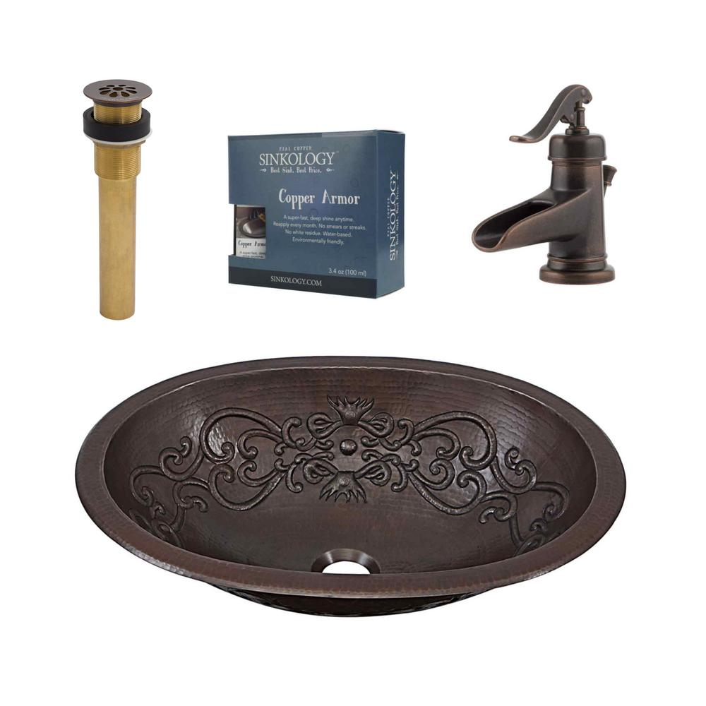 SINKOLOGY Pfister All-In-One Pauling Bathroom Sink Design Kit in Aged Copper with Centerset Rustic Bronze Faucet