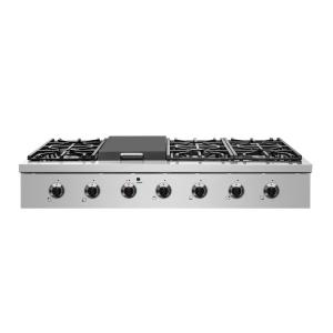 Entree 48 in. Professional Style Liquid Propane Cooktop with 6-Burners and a Griddle Burner in Stainless Steel and Black