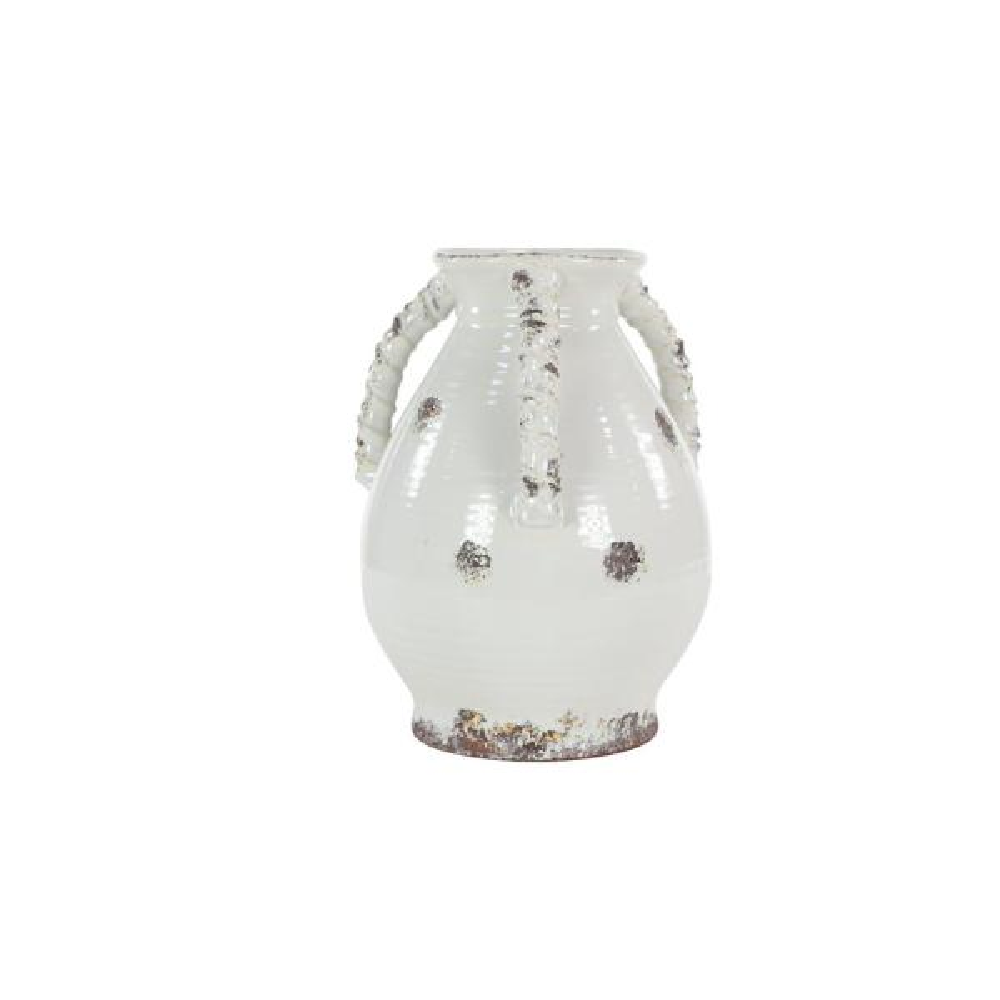 Litton Lane Tall Distressed White Porcelain Decorative Vase 43273 The Home Depot