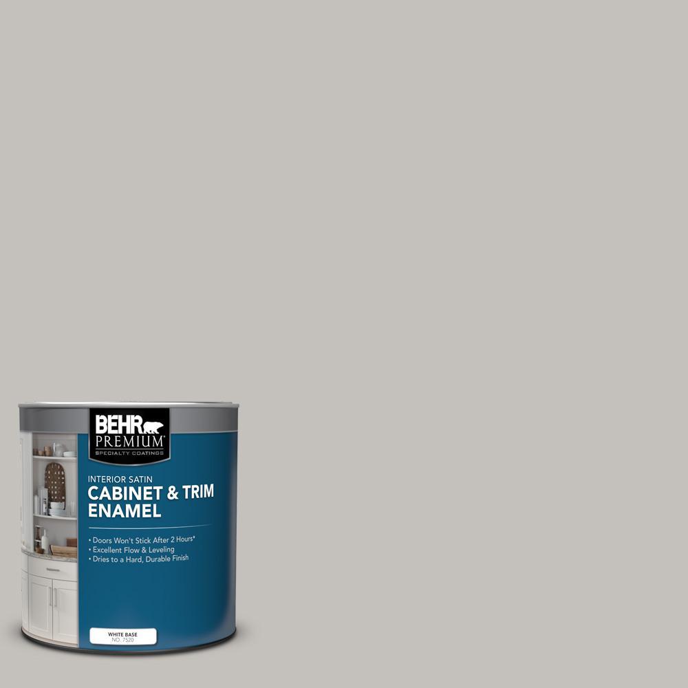 Behr Premium 1 Qt Ppu18 10 Natural Gray Satin Enamel Interior Cabinet And Trim Paint 752004 The Home Depot