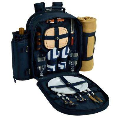 Deluxe Equipped 2-Person Picnic Backpack with Blanket in Navy and Chevron