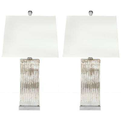 Rock 27 in. Crystal Table Lamp with White Shade (Set of 2)
